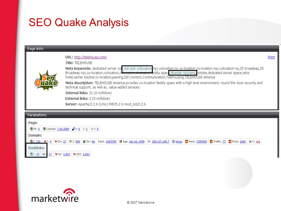 SEO Quake Analysis