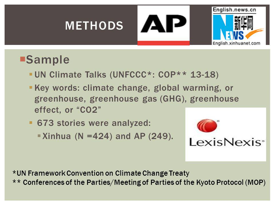 Sample UN Climate Talks (UNFCCC*: COP** 13-18) Key words: climate change, global warming, or greenhouse, greenhouse gas (GHG), greenhouse effect, or CO2 673 stories were analyzed: Xinhua (N =424) and AP (249).