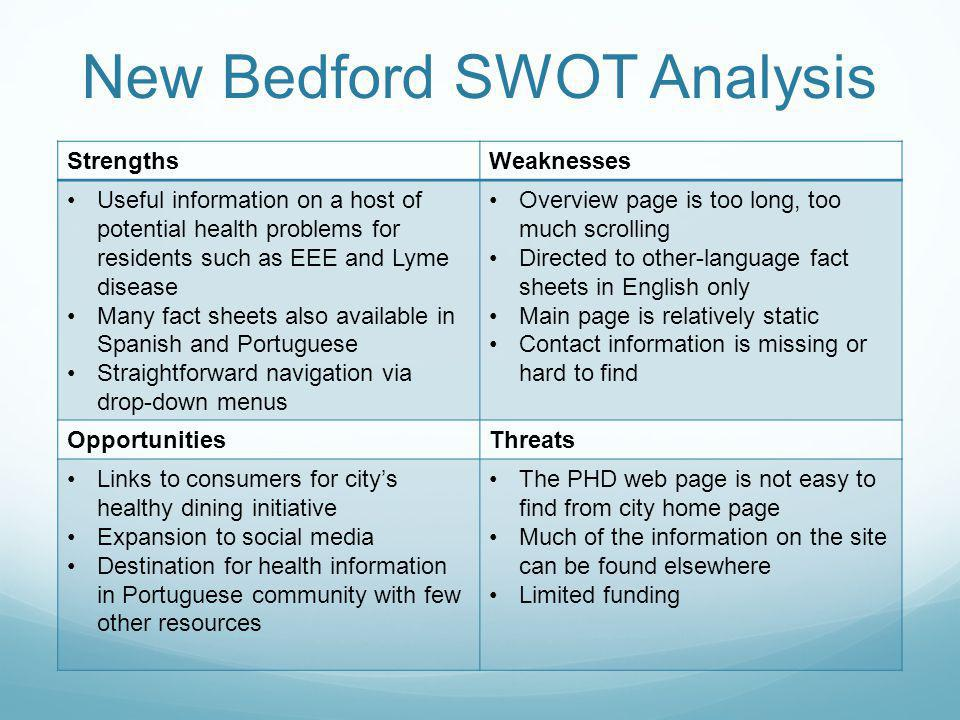 New Bedford SWOT Analysis StrengthsWeaknesses Useful information on a host of potential health problems for residents such as EEE and Lyme disease Many fact sheets also available in Spanish and Portuguese Straightforward navigation via drop-down menus Overview page is too long, too much scrolling Directed to other-language fact sheets in English only Main page is relatively static Contact information is missing or hard to find OpportunitiesThreats Links to consumers for citys healthy dining initiative Expansion to social media Destination for health information in Portuguese community with few other resources The PHD web page is not easy to find from city home page Much of the information on the site can be found elsewhere Limited funding