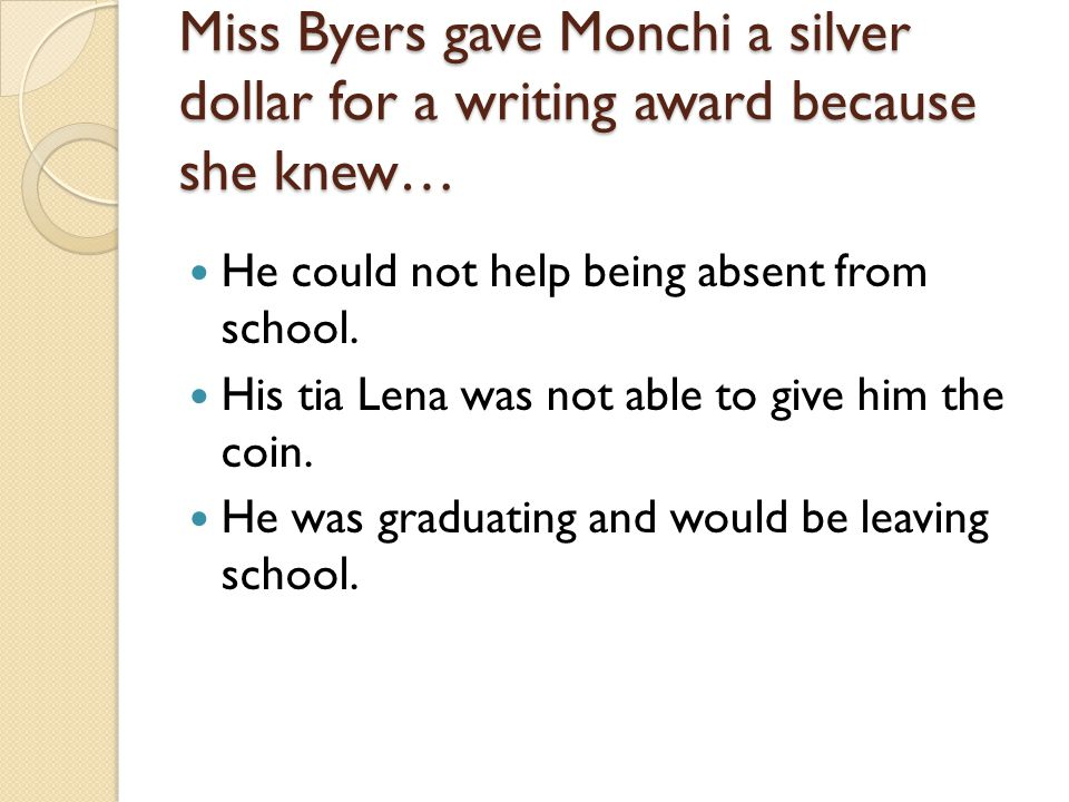 Miss Byers gave Monchi a silver dollar for a writing award because she knew… He could not help being absent from school. His tia Lena was not able to