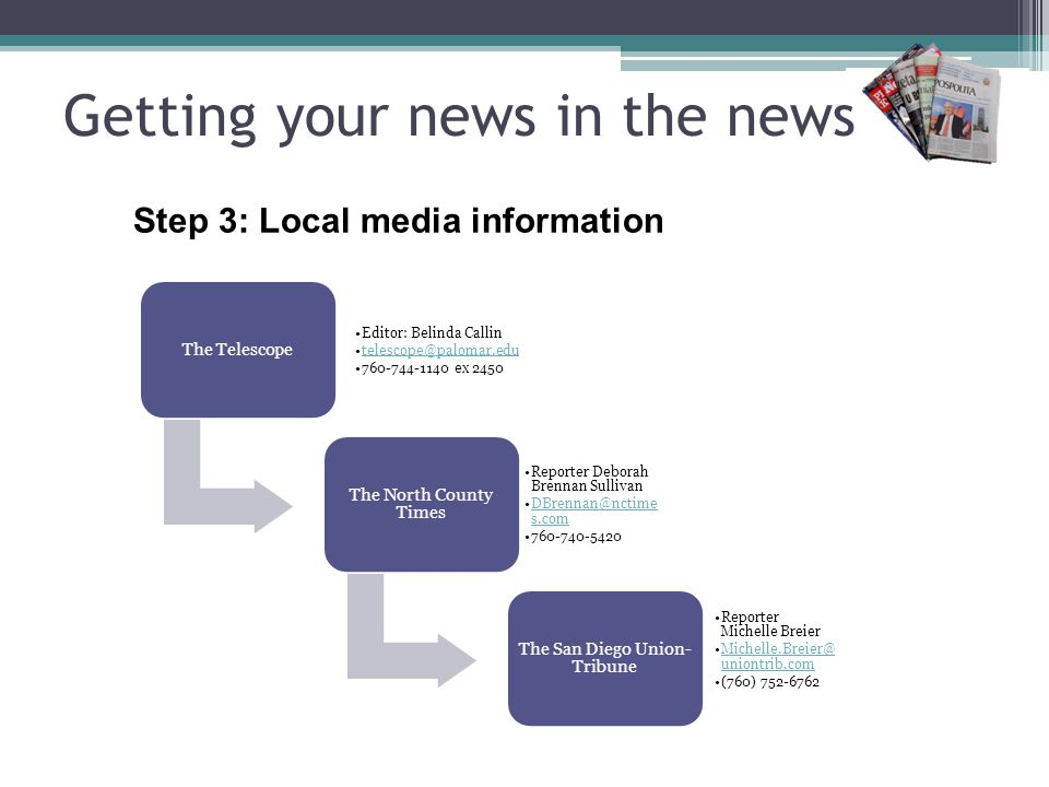 Getting your news in the news Step 3: Send it out Find specific person Be accessible Follow up with a phone call