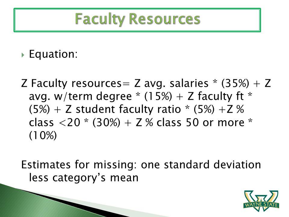 Equation: Z Faculty resources= Z avg. salaries * (35%) + Z avg. w/term degree * (15%) + Z faculty ft * (5%) + Z student faculty ratio * (5%) +Z % clas