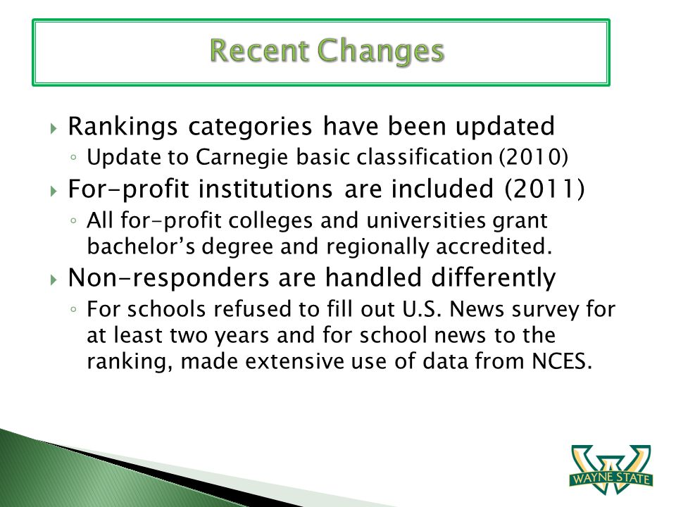 Rankings categories have been updated Update to Carnegie basic classification (2010) For-profit institutions are included (2011) All for-profit colleges and universities grant bachelors degree and regionally accredited.