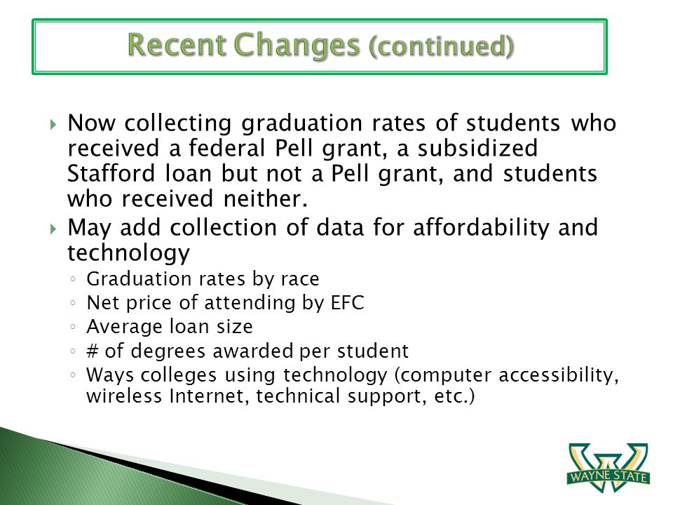 Now collecting graduation rates of students who received a federal Pell grant, a subsidized Stafford loan but not a Pell grant, and students who recei