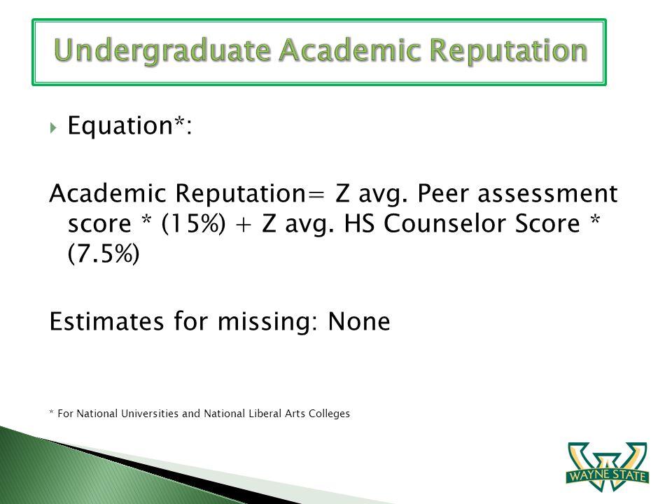 Equation*: Academic Reputation= Z avg. Peer assessment score * (15%) + Z avg. HS Counselor Score * (7.5%) Estimates for missing: None * For National U