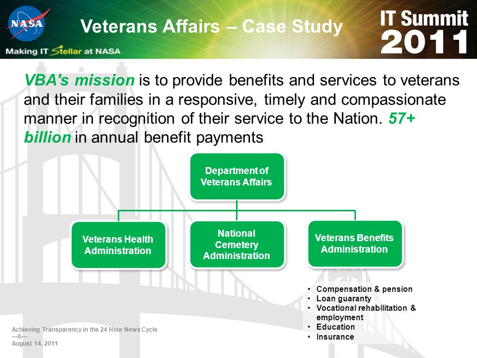 Veterans Affairs – Case Study Ability to consistently report benefits payment information Ability to identify and count distinct beneficiaries Ability to address data quality in an environment going through major system transformations Ability to integrate data managed through the cloud Ability to understand common data (I.e., Common Terminology) Reporting Challenges Achieving Transparency in the 24 Hour News Cycle 7 August 14, 2011