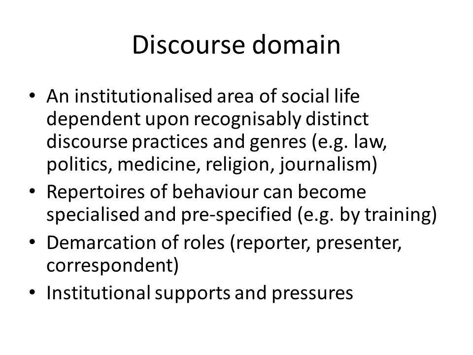 Participation framework (Goffman 1981) Author (editorial team) Animator (presenter reading a script) Principal, the accountable source (director general, the organisation itself) Interviewees (vox, LP)
