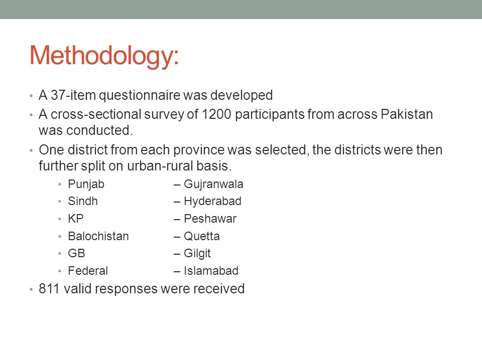 Methodology: A 37-item questionnaire was developed A cross-sectional survey of 1200 participants from across Pakistan was conducted.