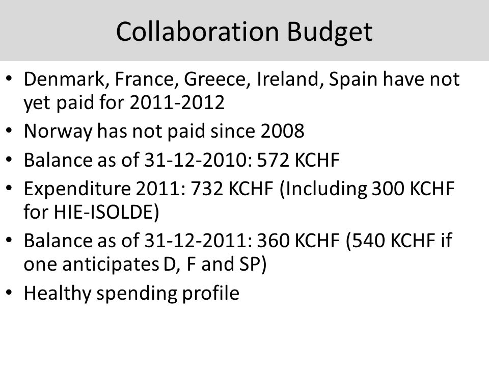 Collaboration Budget Denmark, France, Greece, Ireland, Spain have not yet paid for 2011-2012 Norway has not paid since 2008 Balance as of 31-12-2010: