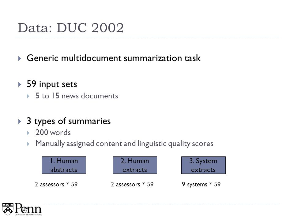 Data: DUC 2002 Generic multidocument summarization task 59 input sets 5 to 15 news documents 3 types of summaries 200 words Manually assigned content and linguistic quality scores 1.