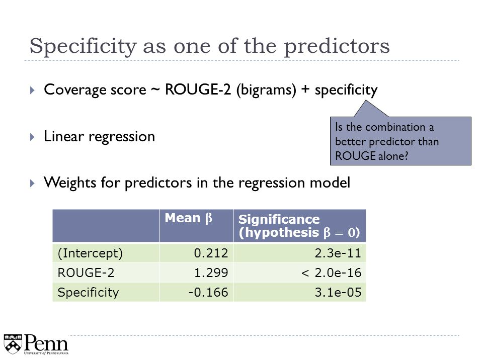 Specificity as one of the predictors Coverage score ~ ROUGE-2 (bigrams) + specificity Linear regression Weights for predictors in the regression model 33 Mean β Significance (hypothesis β = 0) (Intercept)0.2122.3e-11 ROUGE-21.299< 2.0e-16 Specificity-0.1663.1e-05 Is the combination a better predictor than ROUGE alone