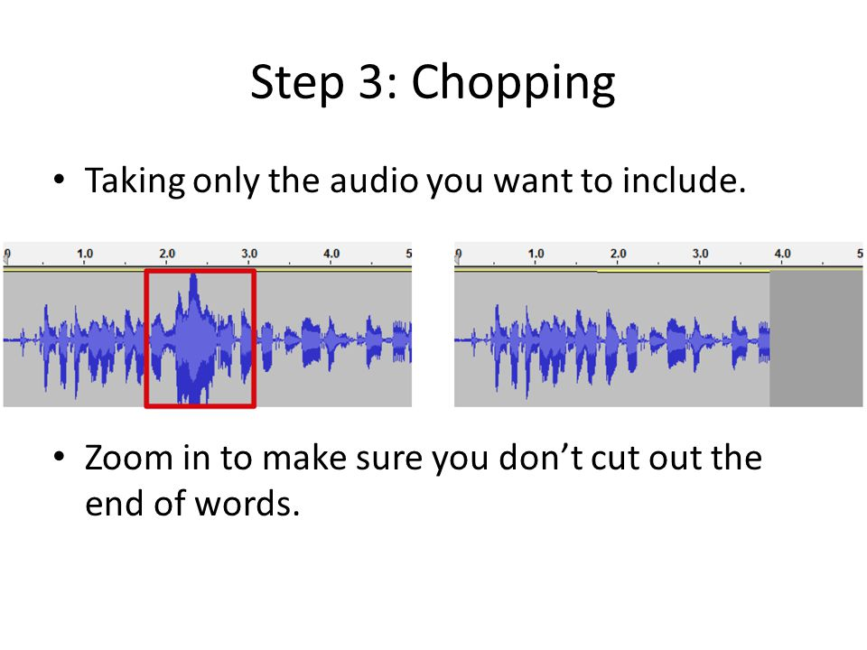 Step 3: Chopping Taking only the audio you want to include.