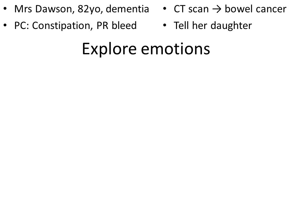 Explore emotions Mrs Dawson, 82yo, dementia PC: Constipation, PR bleed CT scan bowel cancer Tell her daughter