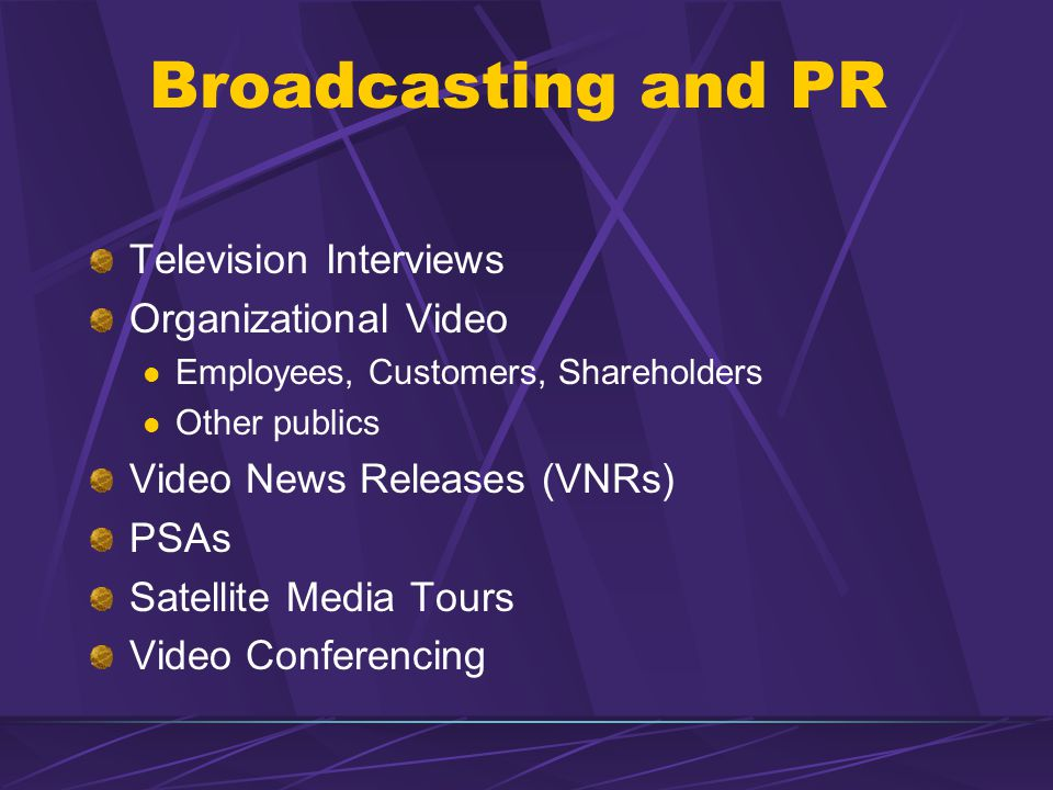Broadcasting and PR Television Interviews Organizational Video Employees, Customers, Shareholders Other publics Video News Releases (VNRs) PSAs Satell
