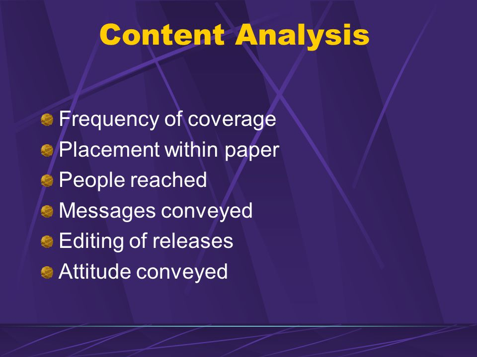 Content Analysis Frequency of coverage Placement within paper People reached Messages conveyed Editing of releases Attitude conveyed