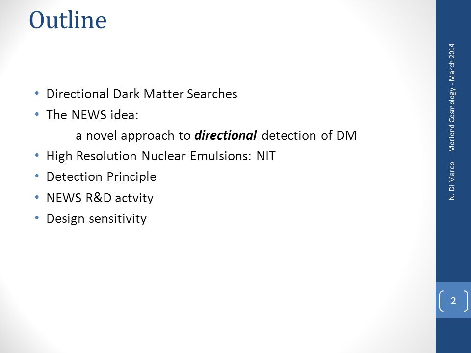 Outline Directional Dark Matter Searches The NEWS idea: a novel approach to directional detection of DM High Resolution Nuclear Emulsions: NIT Detecti