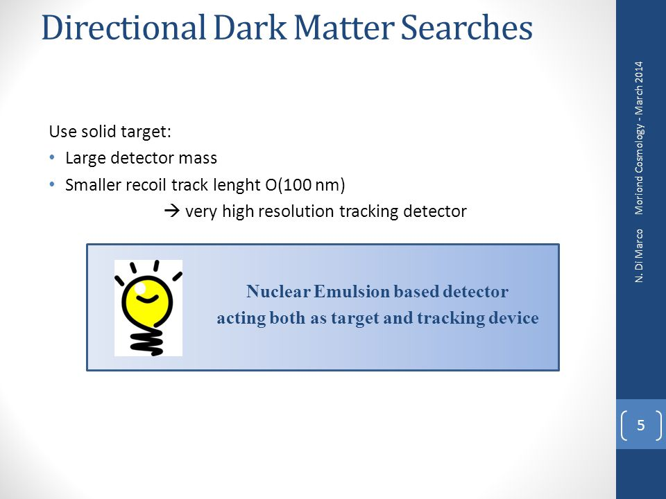 Directional Dark Matter Searches Moriond Cosmology - March 2014 N. Di Marco 5 Use solid target: Large detector mass Smaller recoil track lenght O(100