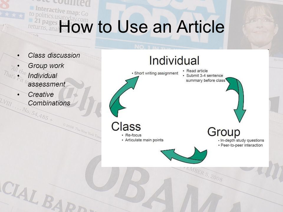 How to Use an Article Class discussion Group work Individual assessment Creative Combinations