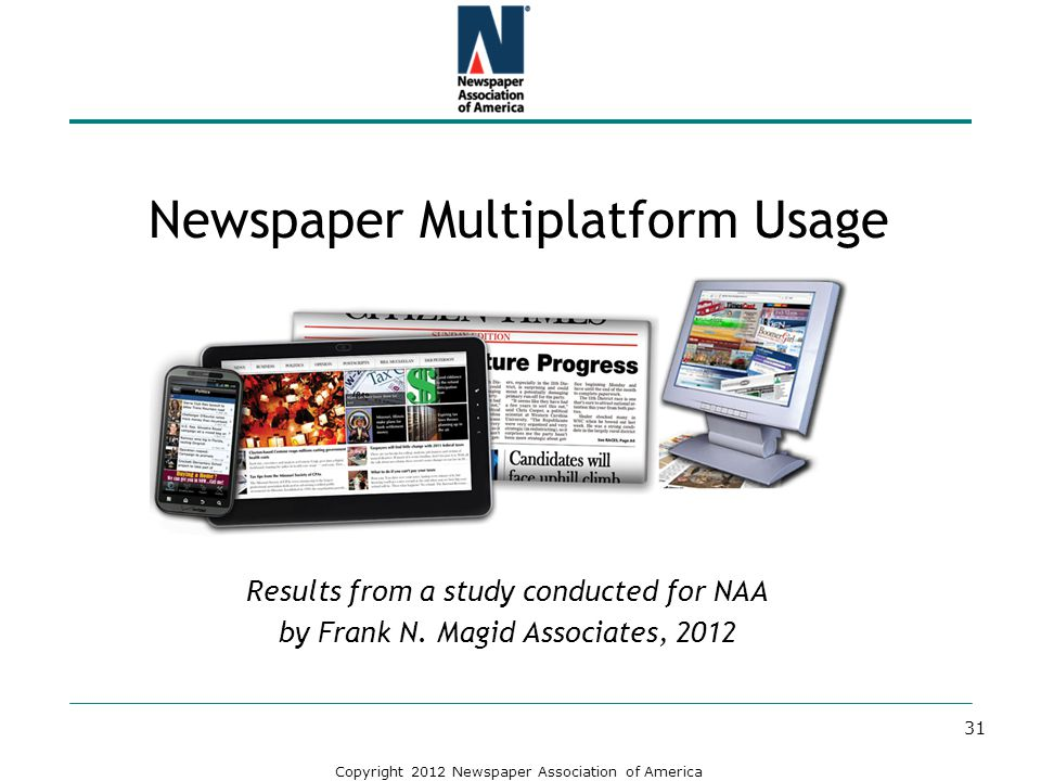 Copyright 2012 Newspaper Association of America Newspaper Multiplatform Usage Results from a study conducted for NAA by Frank N. Magid Associates, 201