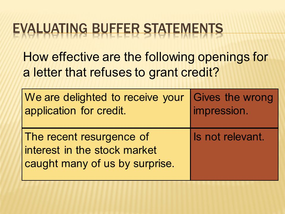 How effective are the following openings for a letter that refuses a request for a donation.