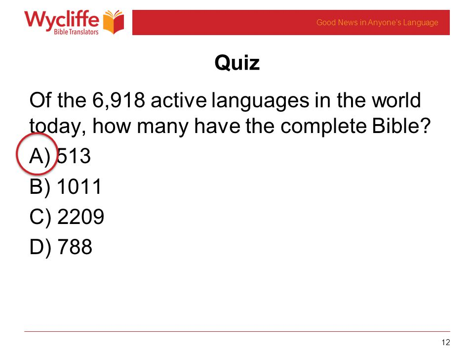 12 Good News in Anyones Language Quiz Of the 6,918 active languages in the world today, how many have the complete Bible.