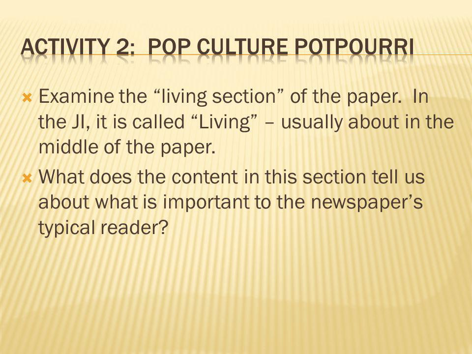 Examine the living section of the paper. In the JI, it is called Living – usually about in the middle of the paper. What does the content in this sect