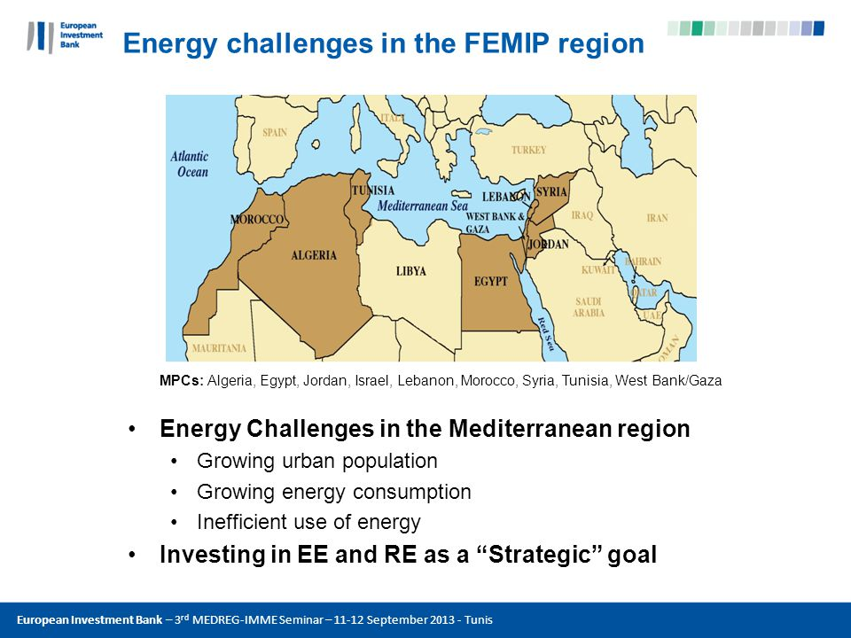 European Investment Bank – 3 rd MEDREG-IMME Seminar – 11-12 September 2013 - Tunis Energy challenges in the FEMIP region MPCs: Algeria, Egypt, Jordan, Israel, Lebanon, Morocco, Syria, Tunisia, West Bank/Gaza Energy Challenges in the Mediterranean region Growing urban population Growing energy consumption Inefficient use of energy Investing in EE and RE as a Strategic goal