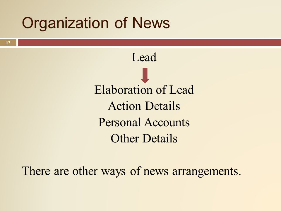 Organization of News 12 Lead Elaboration of Lead Action Details Personal Accounts Other Details There are other ways of news arrangements.