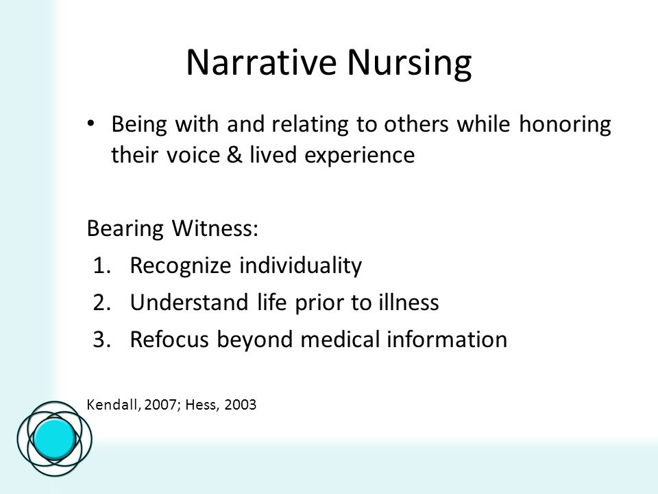 Narrative Nursing Being with and relating to others while honoring their voice & lived experience Bearing Witness: 1.Recognize individuality 2.Underst