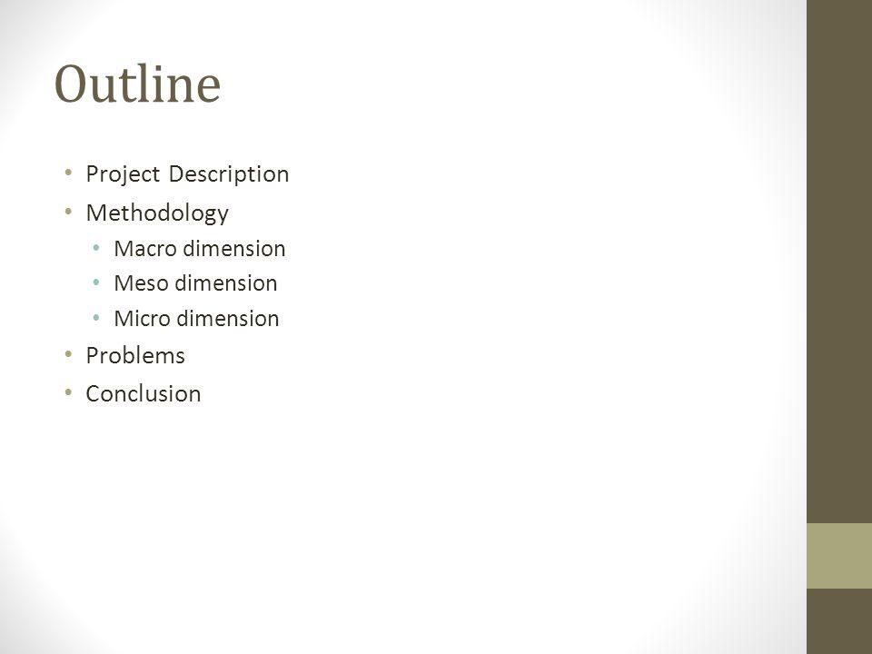 Outline Project Description Methodology Macro dimension Meso dimension Micro dimension Problems Conclusion