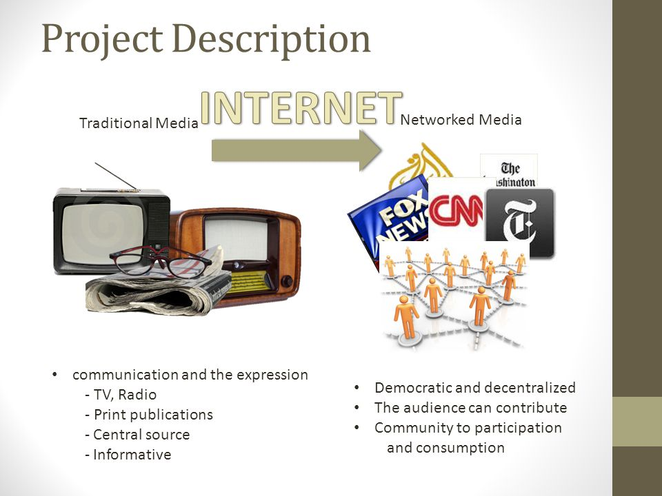 Project Description communication and the expression - TV, Radio - Print publications - Central source - Informative Traditional Media Democratic and decentralized The audience can contribute Community to participation and consumption Networked Media