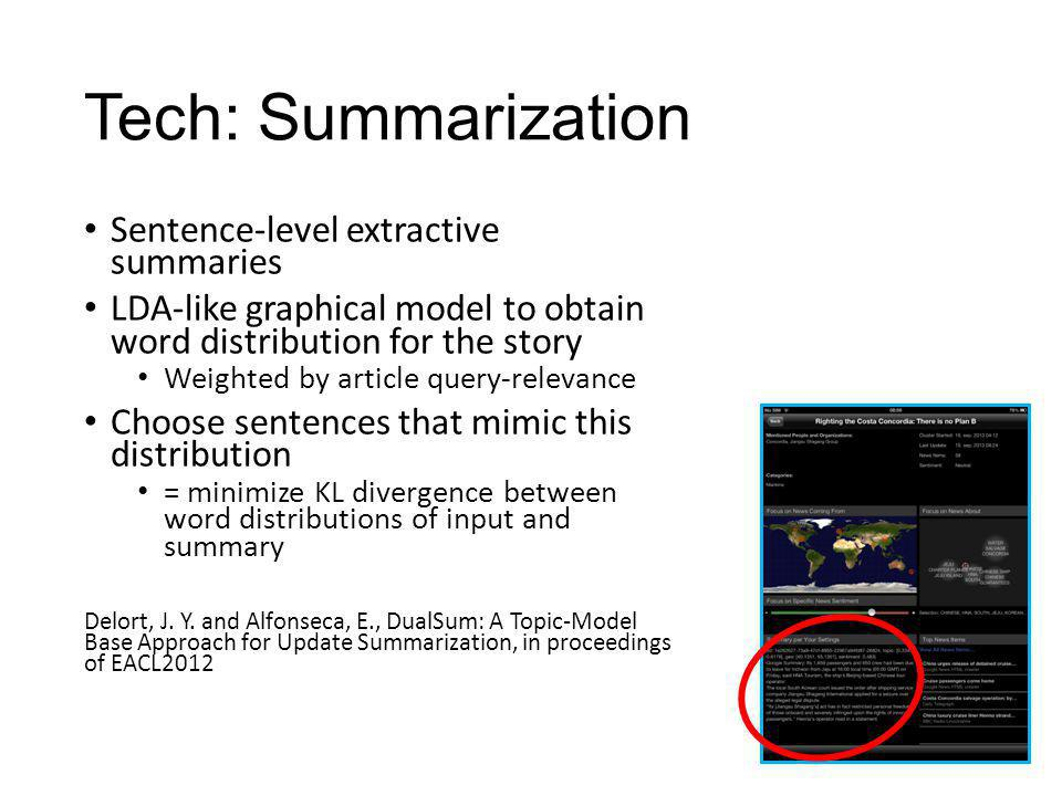 Tech: Summarization Sentence-level extractive summaries LDA-like graphical model to obtain word distribution for the story Weighted by article query-r