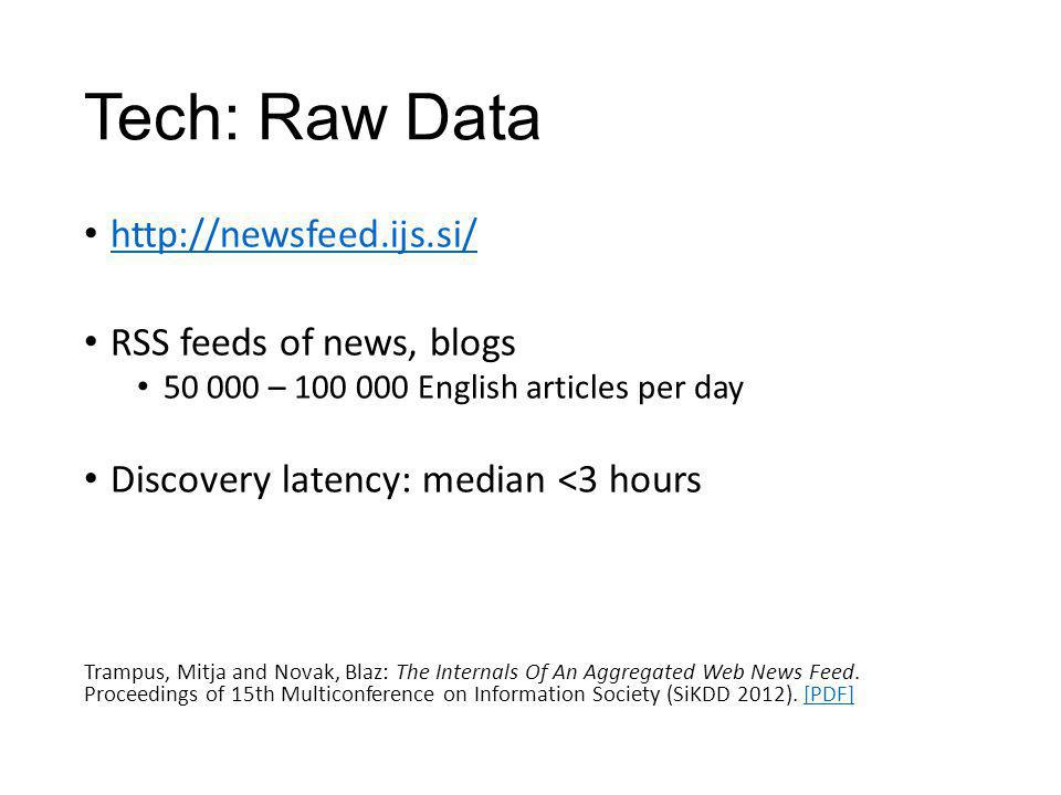 Tech: Raw Data http://newsfeed.ijs.si/ RSS feeds of news, blogs 50 000 – 100 000 English articles per day Discovery latency: median <3 hours Trampus,