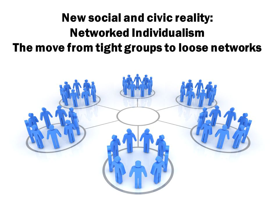 New social and civic reality: Networked Individualism The move from tight groups to loose networks