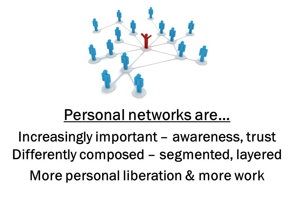 Personal networks are… Increasingly important – awareness, trust Differently composed – segmented, layered More personal liberation & more work