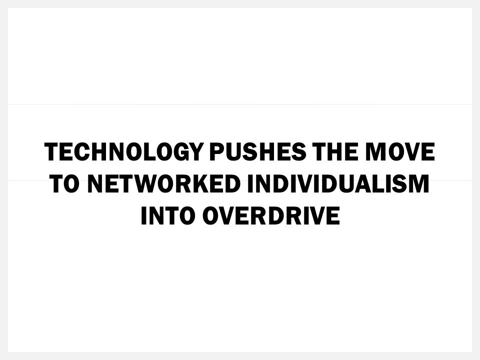 TECHNOLOGY PUSHES THE MOVE TO NETWORKED INDIVIDUALISM INTO OVERDRIVE