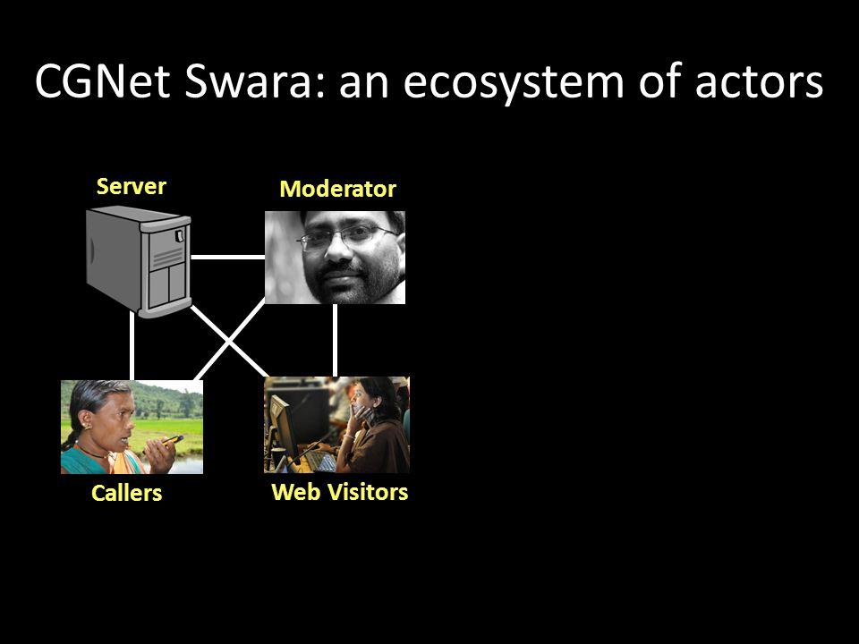 CGNet Swara: an ecosystem of actors Server Callers Moderator Web Visitors