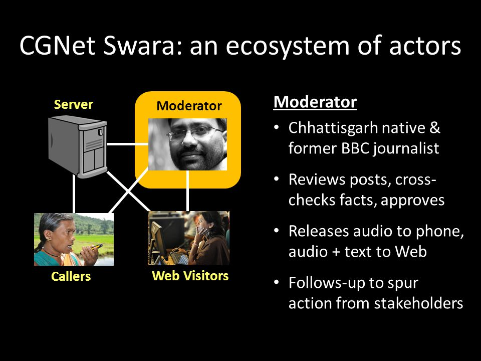 CGNet Swara: an ecosystem of actors Server Callers Moderator Web Visitors Moderator Chhattisgarh native & former BBC journalist Reviews posts, cross- checks facts, approves Releases audio to phone, audio + text to Web Follows-up to spur action from stakeholders