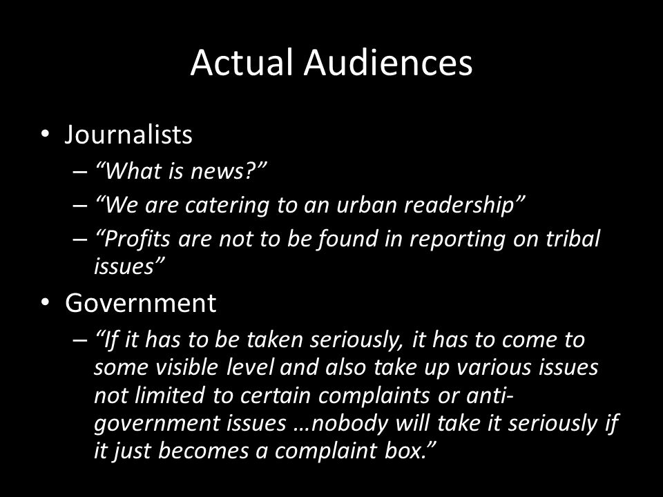Actual Audiences Journalists – What is news.