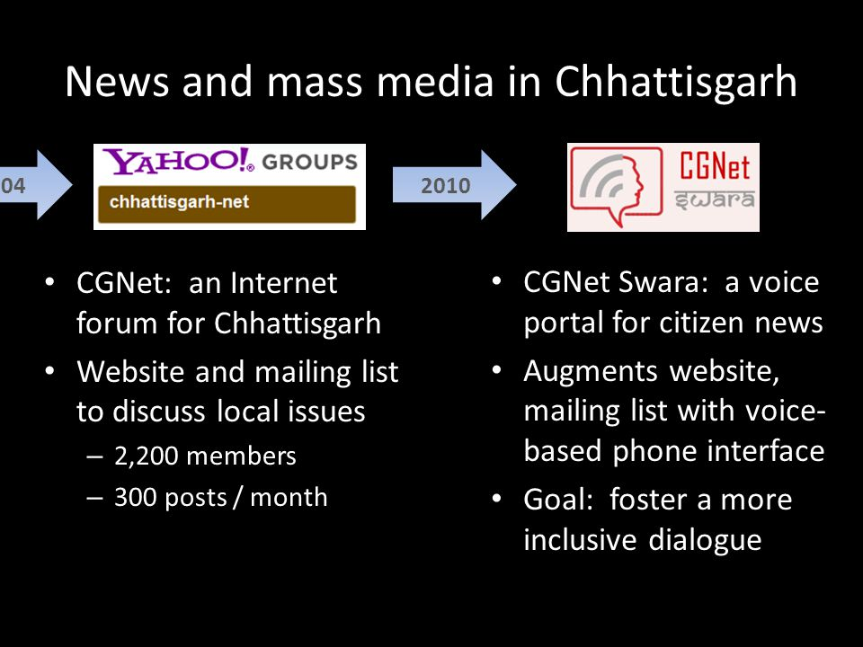 News and mass media in Chhattisgarh 2004 CGNet: an Internet forum for Chhattisgarh Website and mailing list to discuss local issues – 2,200 members – 300 posts / month 2010 CGNet Swara: a voice portal for citizen news Augments website, mailing list with voice- based phone interface Goal: foster a more inclusive dialogue