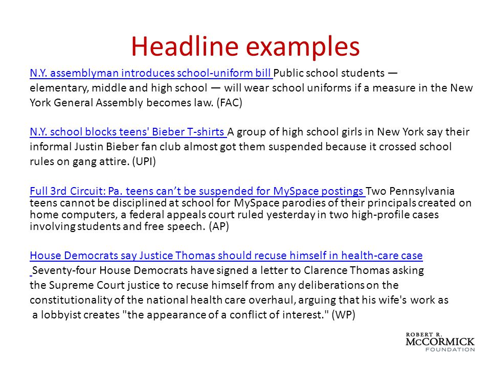 Headline examples N.Y. assemblyman introduces school-uniform bill N.Y.