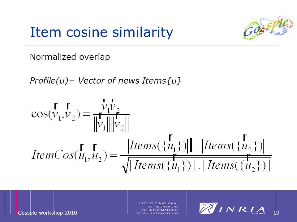 Item cosine similarity 19Gossple workshop 2010 Normalized overlap Profile(u)= Vector of news Items{u}