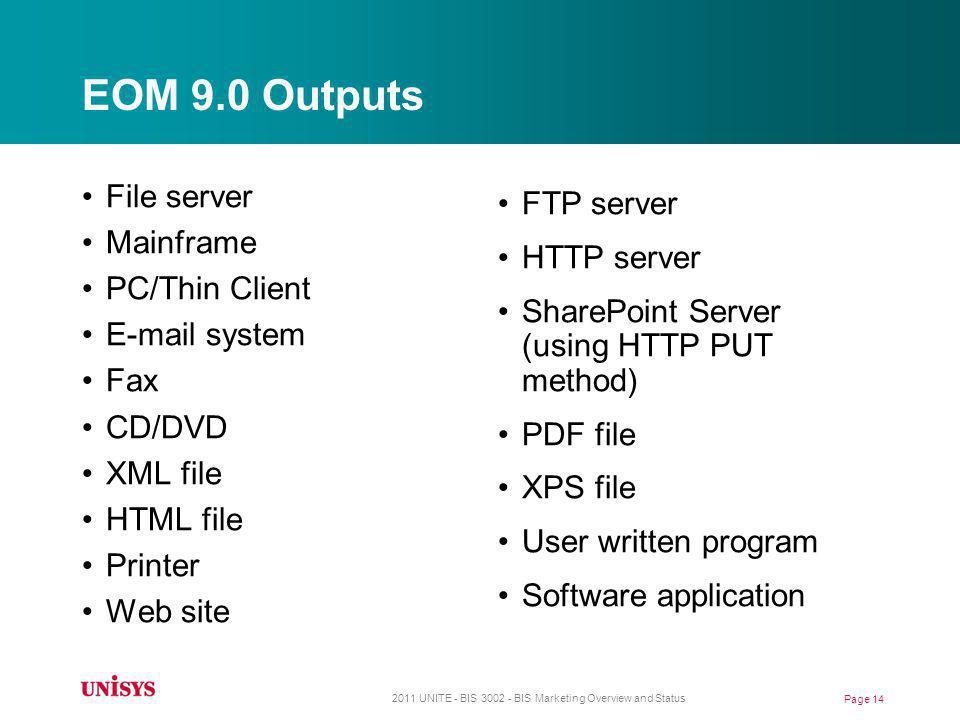 EOM 9.0 Outputs File server Mainframe PC/Thin Client E-mail system Fax CD/DVD XML file HTML file Printer Web site FTP server HTTP server SharePoint Se