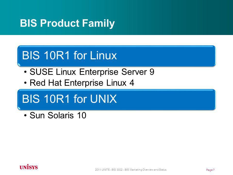 BIS Product Family BIS 10R1 for Linux SUSE Linux Enterprise Server 9 Red Hat Enterprise Linux 4 BIS 10R1 for UNIX Sun Solaris 10 2011 UNITE - BIS 3002