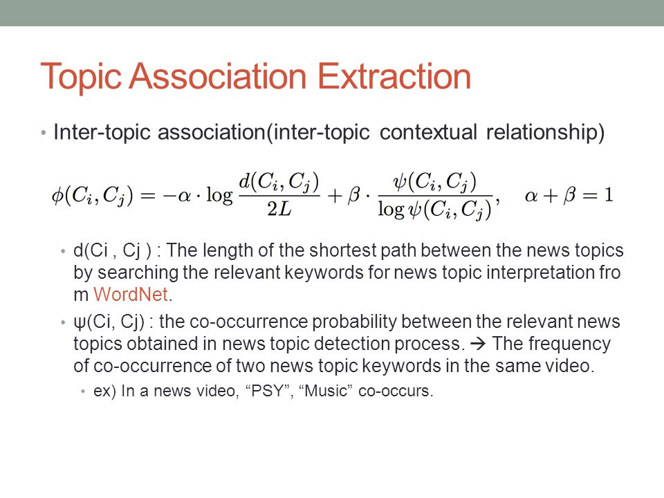 Topic Association Extraction Inter-topic association(inter-topic contextual relationship) d(Ci, Cj ) : The length of the shortest path between the new