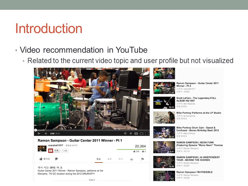 Introduction Video recommendation in YouTube Related to the current video topic and user profile but not visualized