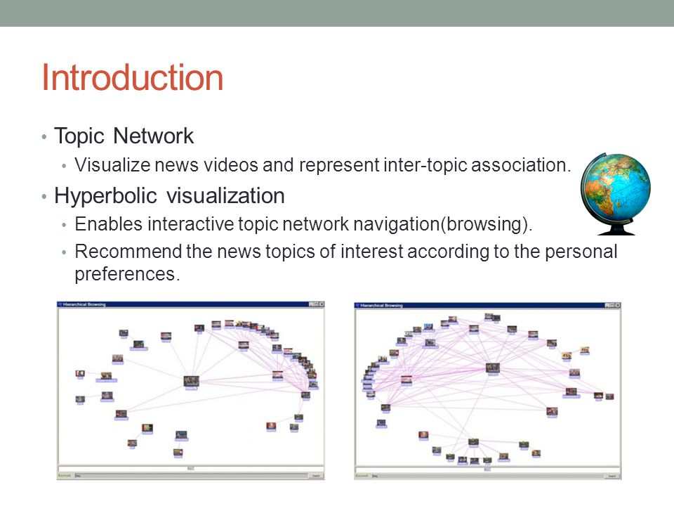 Introduction Topic Network Visualize news videos and represent inter-topic association. Hyperbolic visualization Enables interactive topic network nav