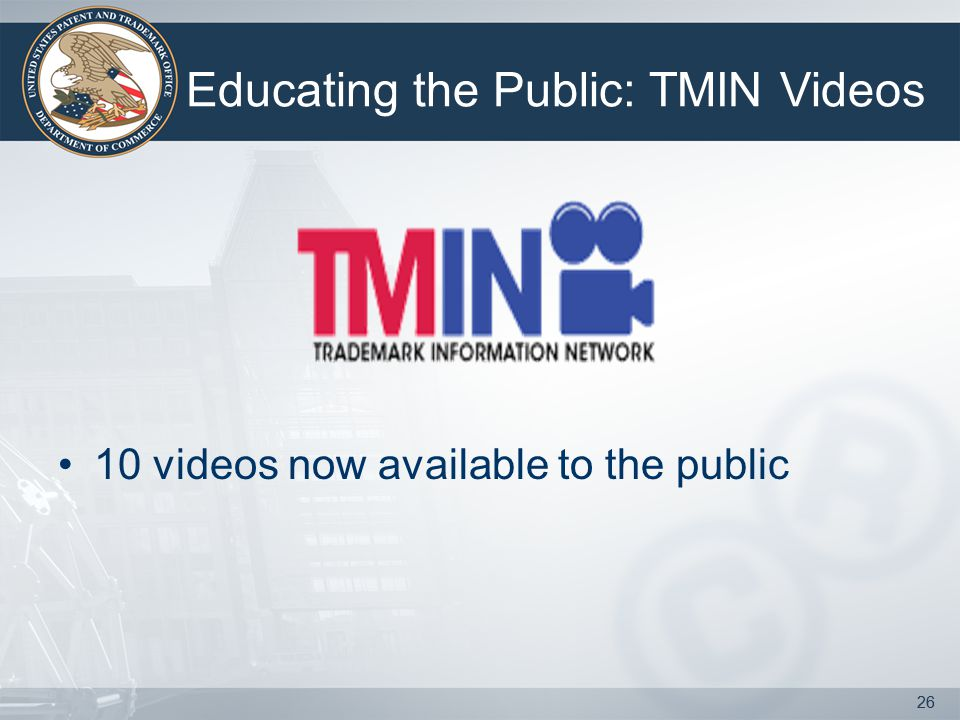 26 10 videos now available to the public 26 Educating the Public: TMIN Videos