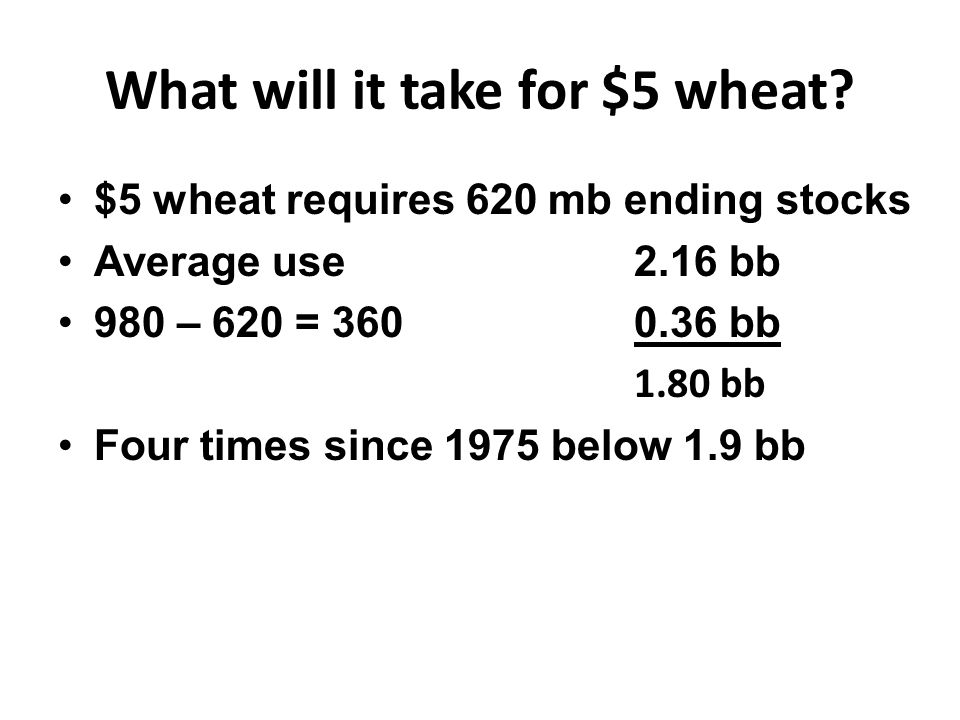 What will it take for $5 wheat.
