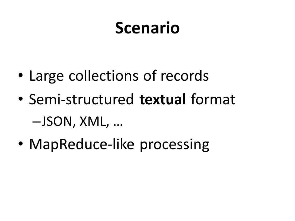 Scenario Large collections of records Semi-structured textual format – JSON, XML, … MapReduce-like processing